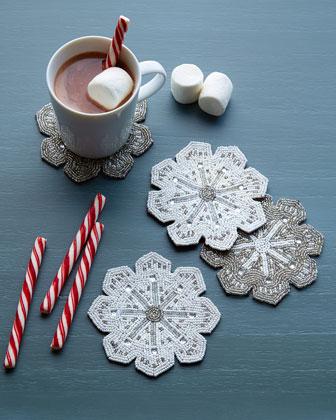 Beaded Snowflake Coasters, 4-Piece Set