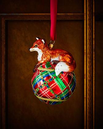 Fox on Tartan Christmas Ornament