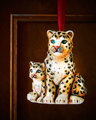 Mom & Baby Snow Leopards Christmas Ornament