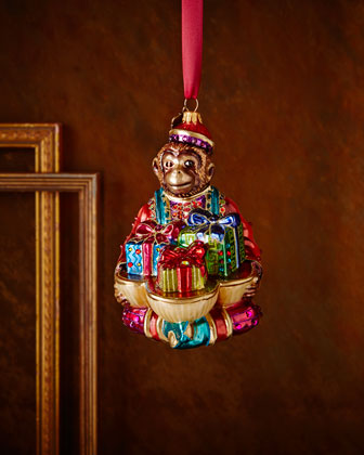Monkey with Gifts Christmas Ornament