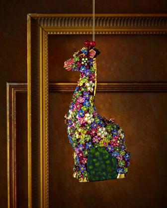 Mille Fiori Giraffe Christmas Ornament