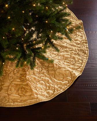 Gold Velvet Christmas Tree Skirt