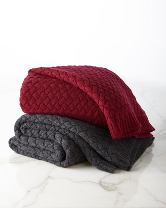 Basketweave Knit Cashmere Throw