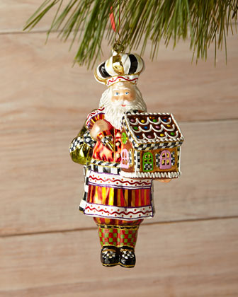Candy Cottage Santa Ornament