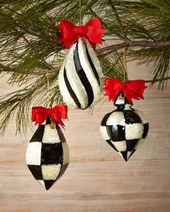 Capiz Fancy Christmas Ornaments, 3-Piece Set