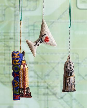 New York City Christmas Ornaments, 3-Piece Set