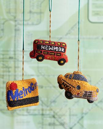 New York Transportation Christmas Ornaments, 3-Piece Set