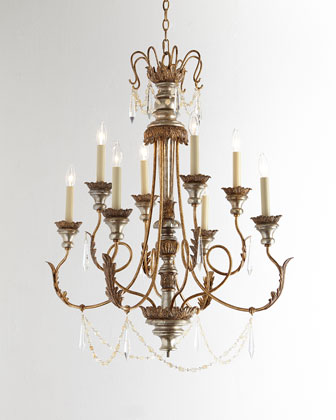 Stately Eight-Light Crystal Chandelier