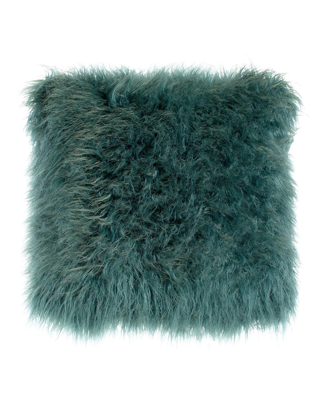 Khan Teal Faux-Fur Pillow - Neiman Marcus