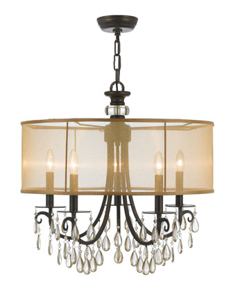 Hampton Five-Light Bronze Shaded Chandelier
