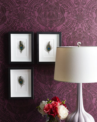 Framed Peacock Feathers, 3-Piece Set