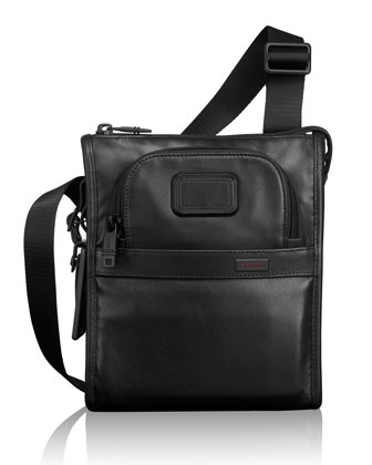 Alpha 2 Black Leather Pocket Bag
