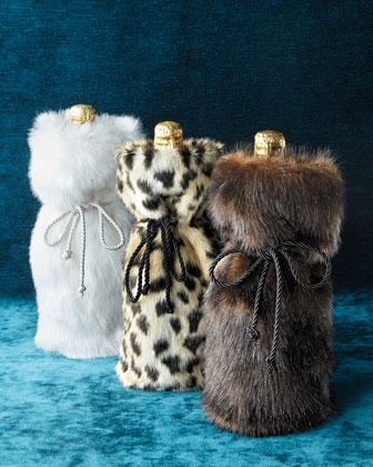 Faux-Fur Wine Bags