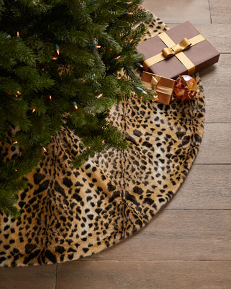 Faux Leopard Christmas Tree Skirt