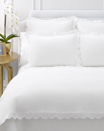 Queen Duvet Cover with Scallop Trim, 90