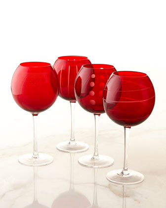 Assorted Cheers Balloon Glasses, 4-Piece Set
