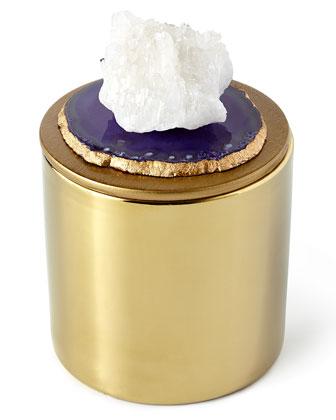 Purple & Gold Candle with Quartz Cluster