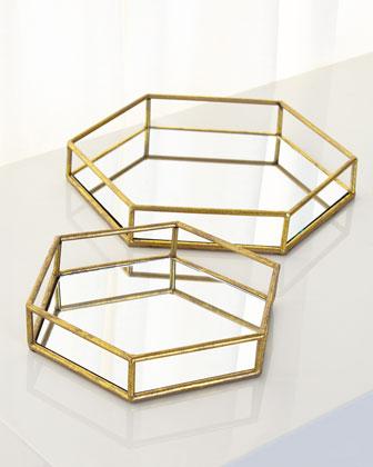 Mirrored Hexagonal Trays, Set of 2