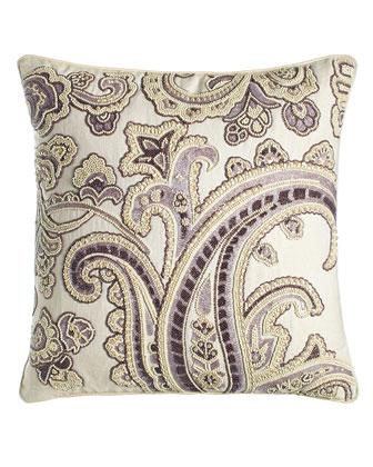 Hand-Beaded Amethyst Paisley Linen Pillow, 20