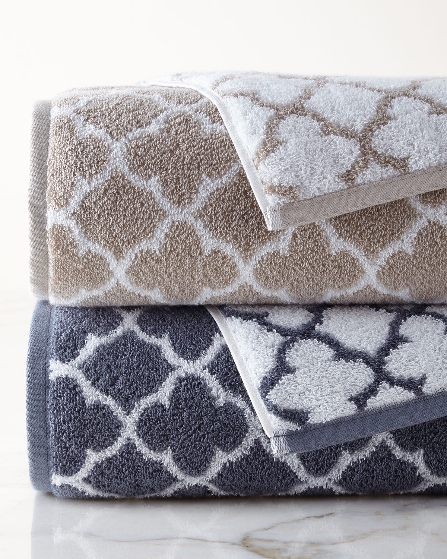 Iron Gate Bath Towel, Silver/White - Neiman Marcus