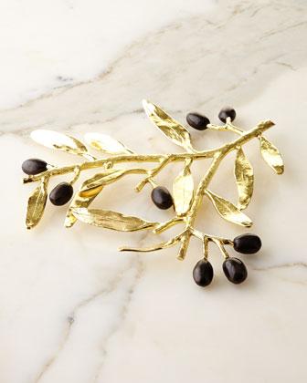 Olive Branch Gold Trivet