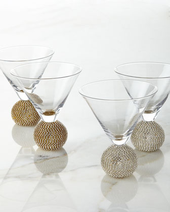 Ball-Stem Martini Glasses, Set of 2