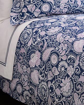 King Navy & Lilac Floral Duvet Cover