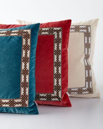 Velvet Pillow with Border Detail, 22