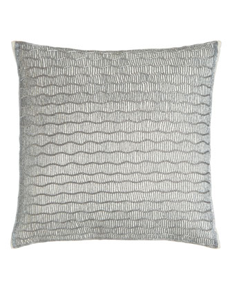 Silver Beads Wavy Lines Pillow, 22