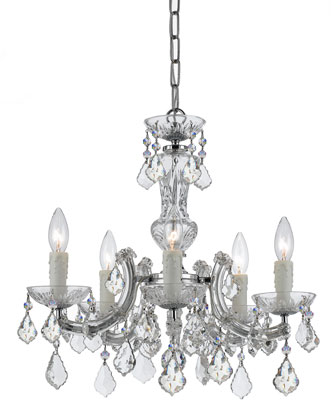 Crystorama Maria Theresa Five-Light Chrome Mini Chandelier