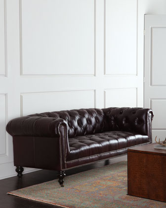 Morgan Aubergine Tufted Leather Sofa