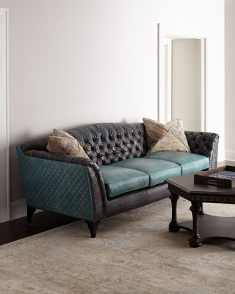 Trey Tufted Leather Sofa