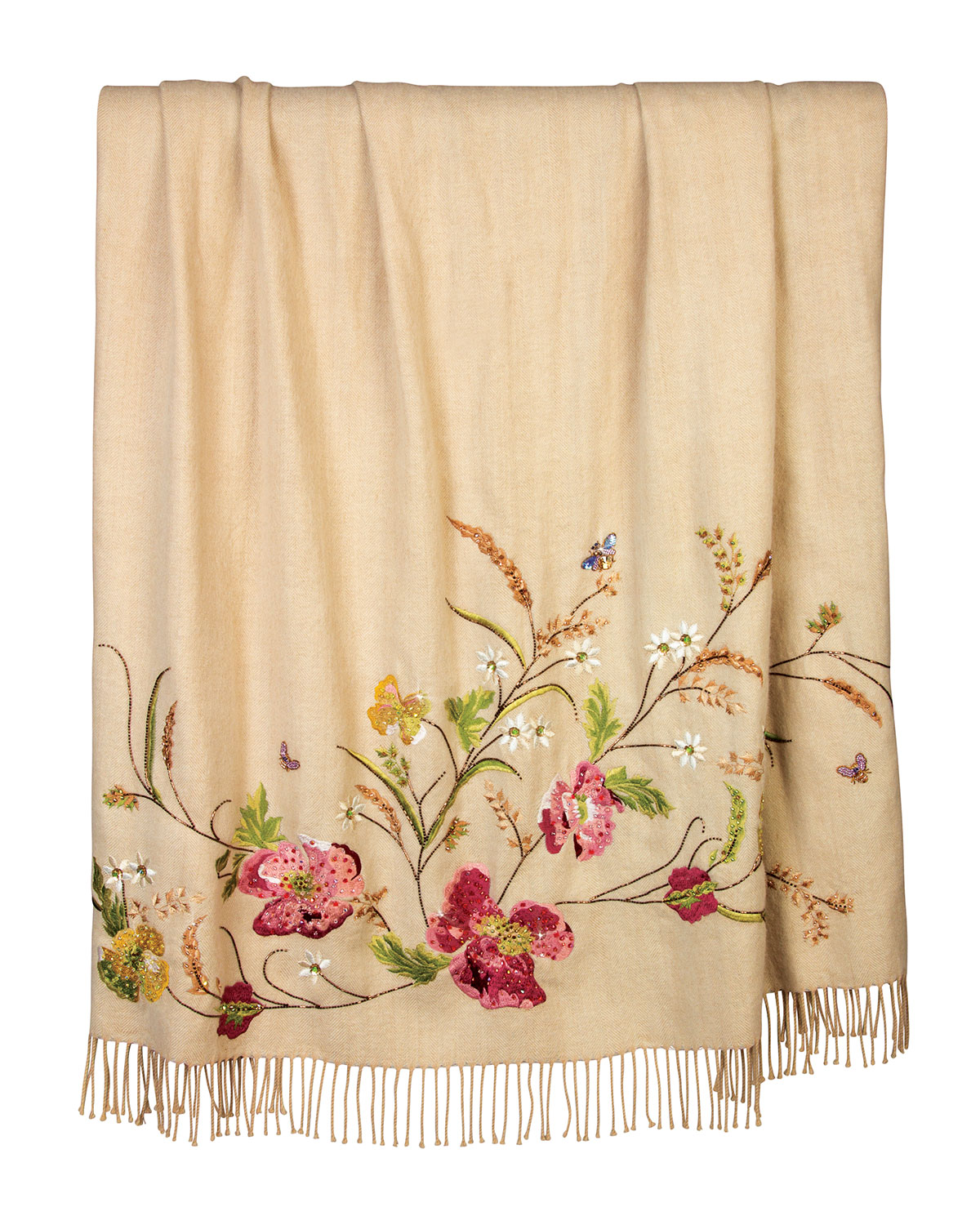 Cream Poppy Throw, Multi Colors - Jay Strongwater