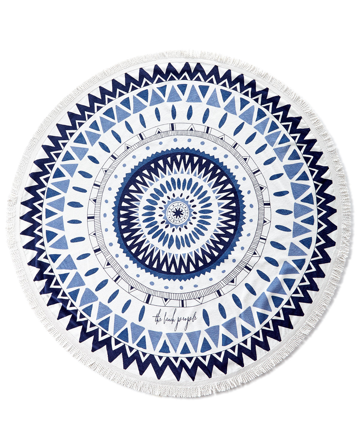 Majorelle Round Beach Towel, White/Blue - The Beach People