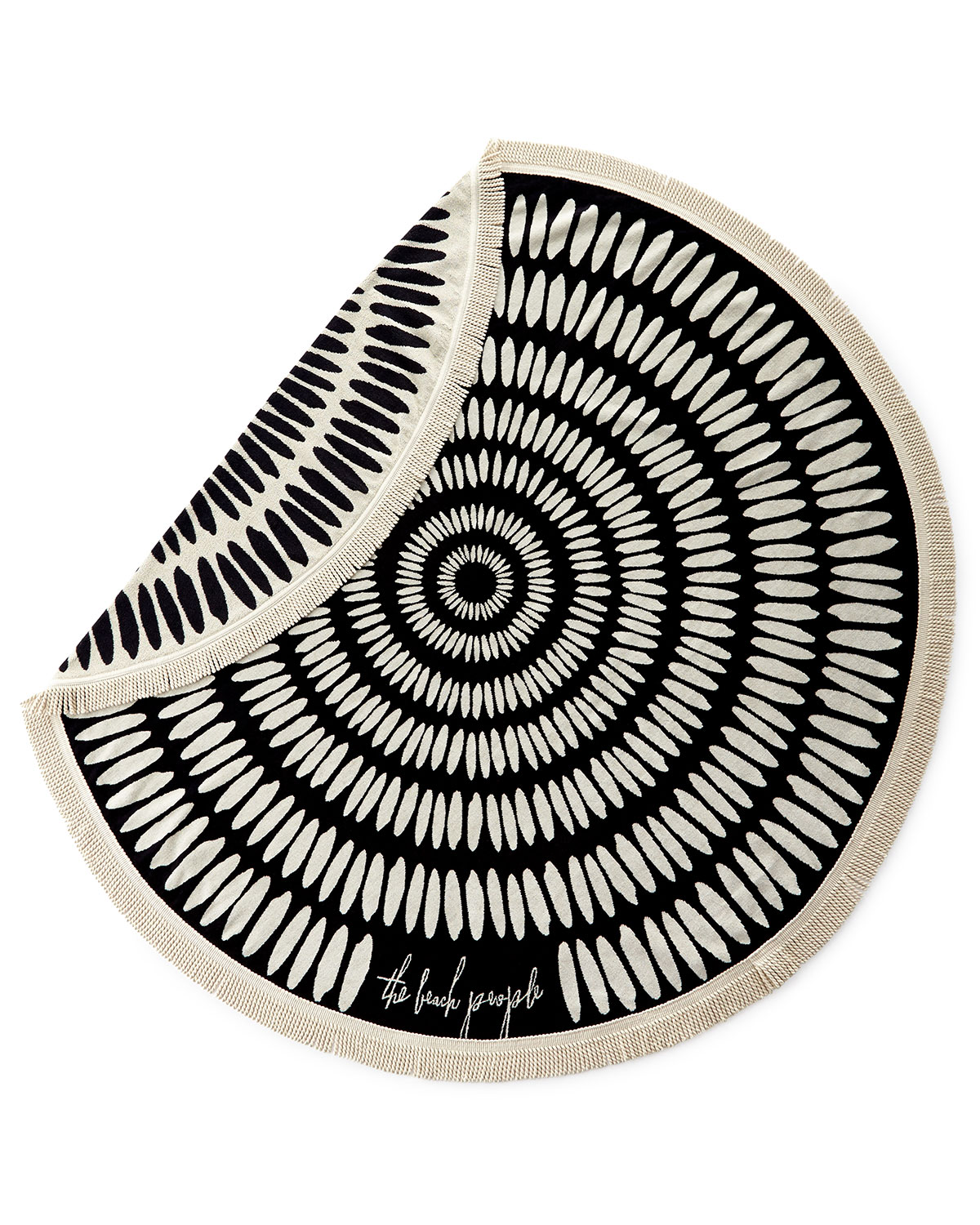 Tulum Round Beach Towel, Black/Creme - The Beach People