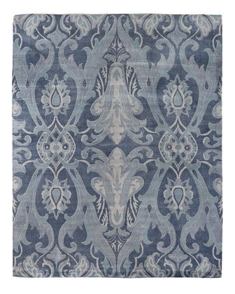 Blue Damask Flatweave Rug, 8' x 10'