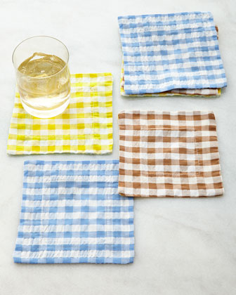 Gingham Cocktail Napkins, Set of 6