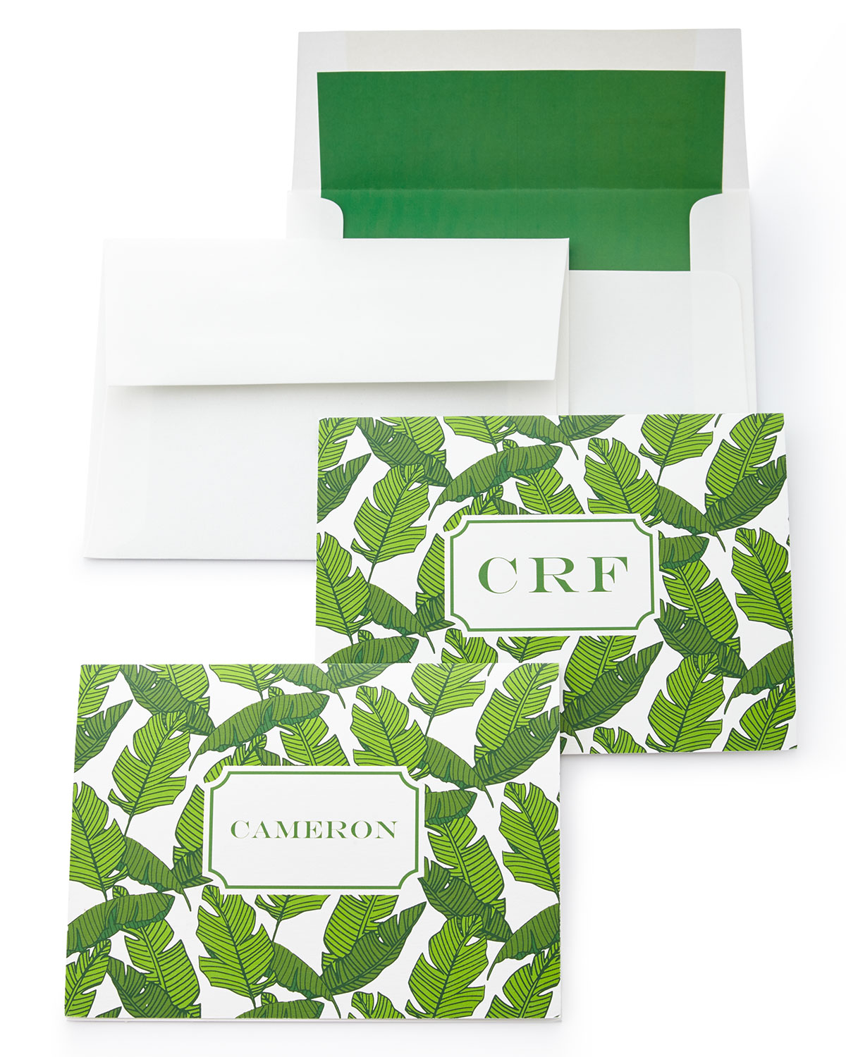 Banana Leaf Folded Notes with Plain Envelopes, Green - Neiman Marcus