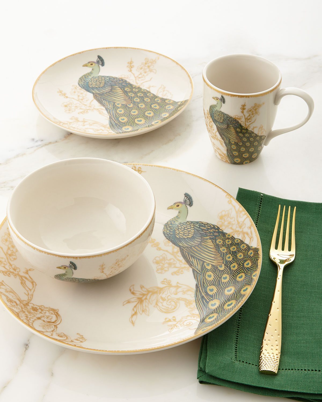 16-Piece Serene Peacock Dinnerware Service, White/Peacock - Neiman Marcus