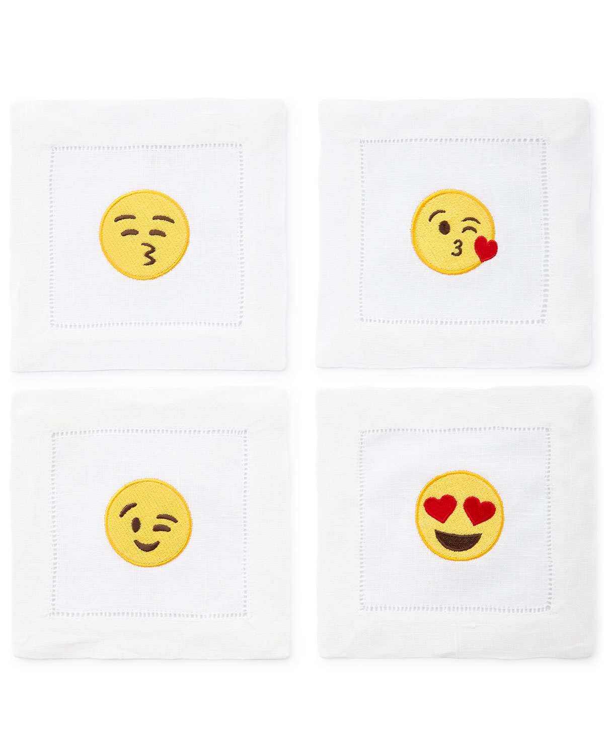 Emoji Flirty Cocktail Napkins, 4-Piece Set, White - Neiman Marcus