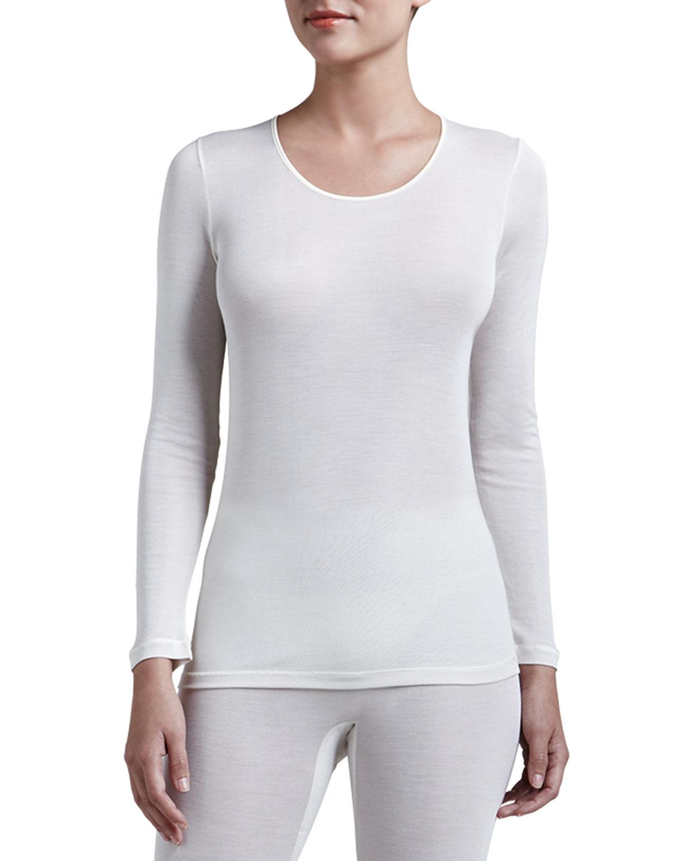 Womens Silk Long Sleeve Shirt, Pale Cream   Hanro   Pale cream (SMALL/6 8)