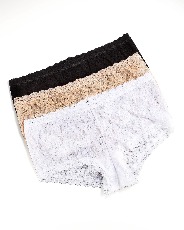 Stretch Lace Boyshorts, Womens   Hanky Panky   White (1X/14 16W)
