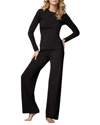 Tricot Long-Sleeve Top & Relaxed Pants, Black