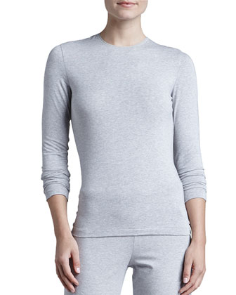 Tricot Long-Sleeve Top & Relaxed Pants, Gray