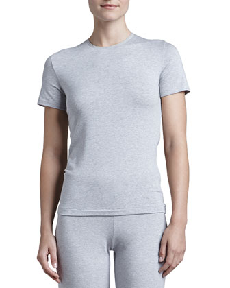 Tricot Short-Sleeve Top, Gray