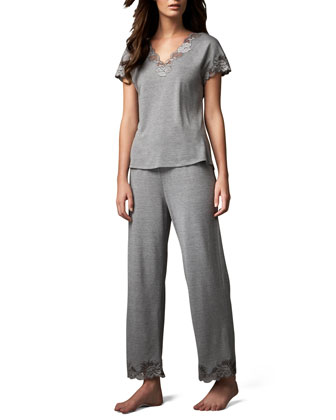 Zen Floral-Trim Pajamas, Heather Gray