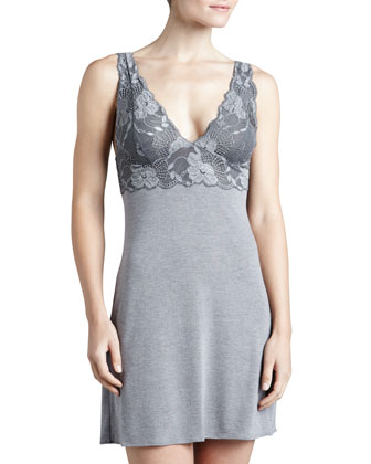 Zen Floral-Trim Chemise, Women's, Heather Gray