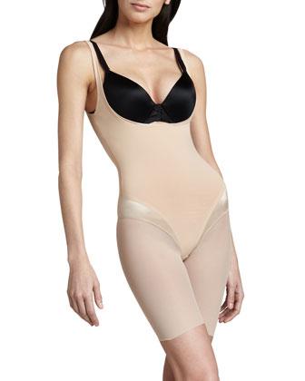 Haute Contour Open-Bust Bodysuit, Blush