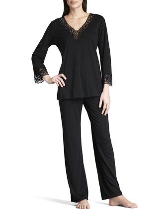 Lhasa Jersey Pajamas, Black