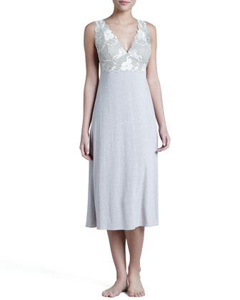 Zen Long Jersey Wrap Robe & Floral-Trim Gown